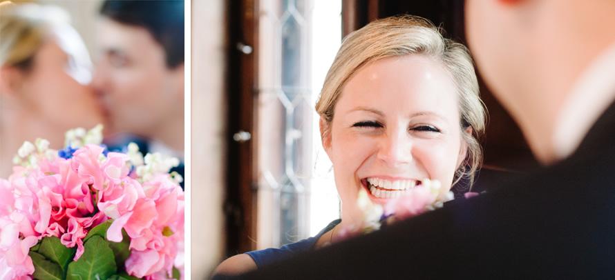 lachende Braut beim hochzeit shooting