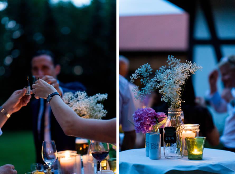 abendliche Stimmung einer Hochzeitsfeier