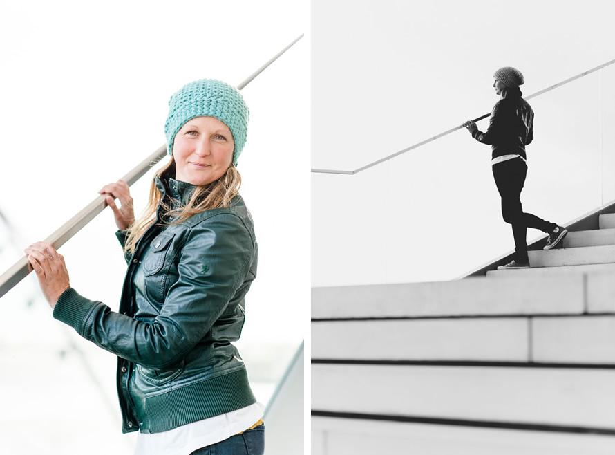 Portrait fotos von Katja an der Treppe
