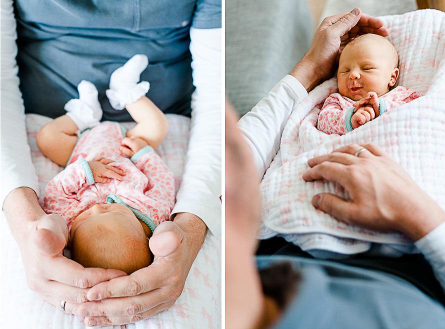Papa hält zärtlich seine Tochter