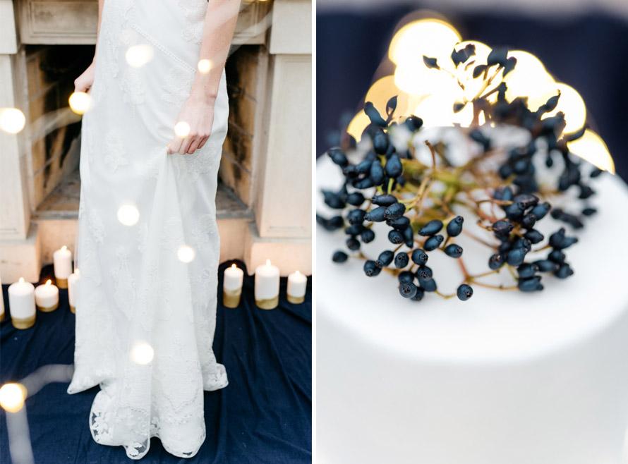 Hochzeitskleid von Anna Kara und Hochzeitstorte