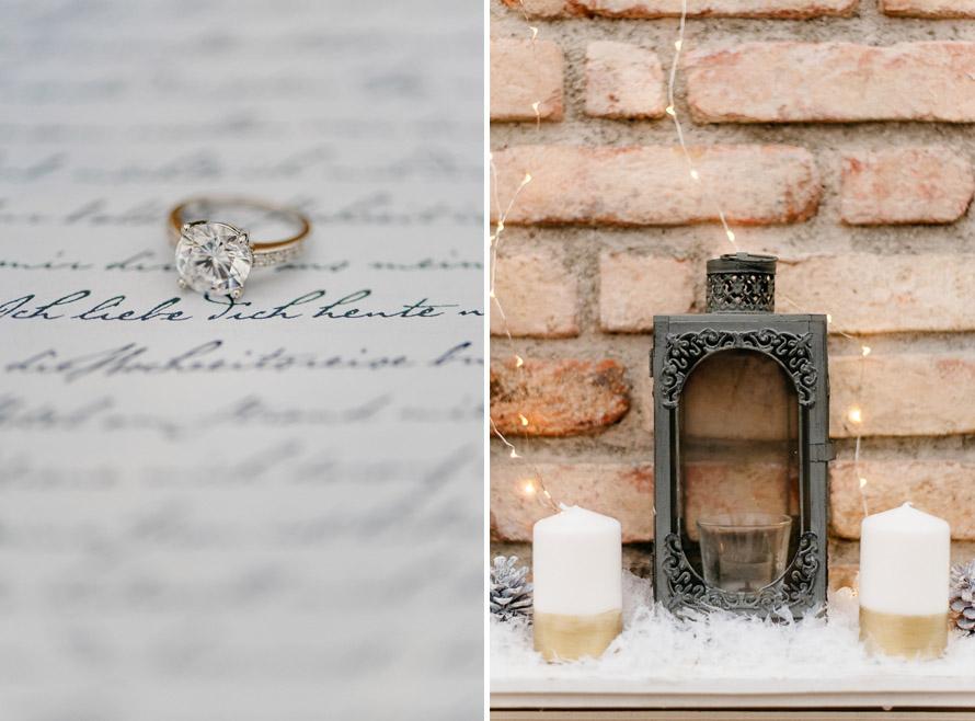 Ring und Dekorationsfoto von Windlicht und Kerzen