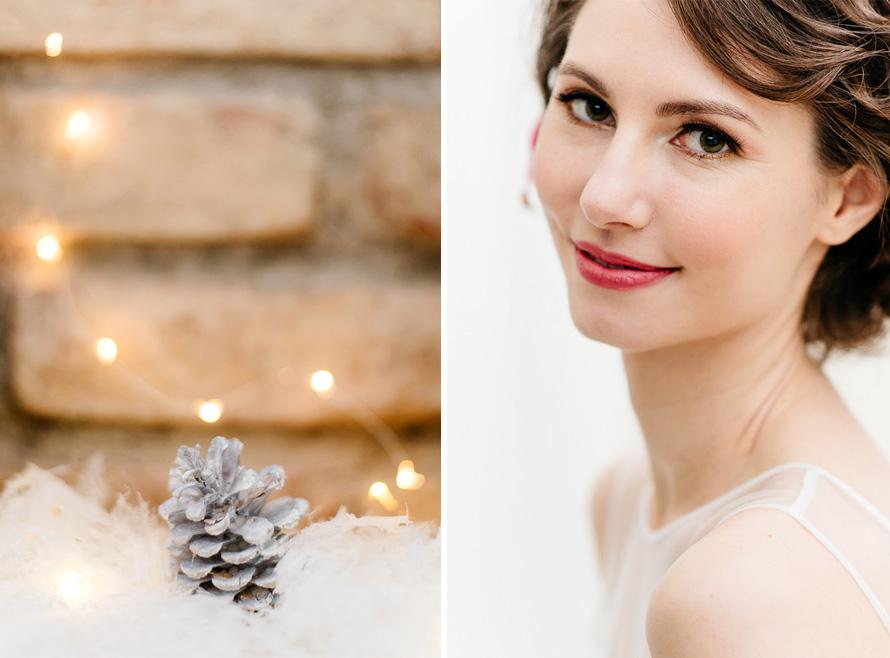 wunderschönes Brautportrait und Tannenzapfen mit warmen Licht