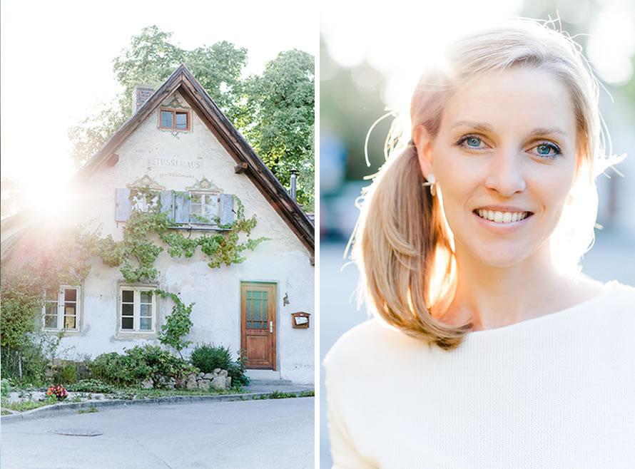Gegenlichtaufnahme eines Hauses und einer Frau